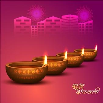 Violet fond diwali avec des bougies allumées dans la rangée