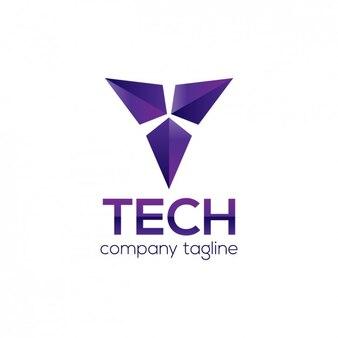 Violet logo abstrait géométrique en 3D