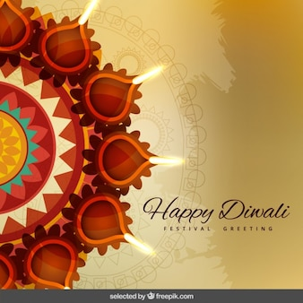 Voeux de Diwali avec des ornements