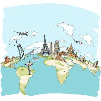 Voyagez le concept du monument mondial