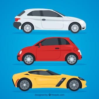 Vue latérale de trois voitures