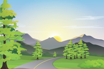 Vue sur le bord de la route avec la montagne, le champ vert et le lever de soleil sur l'horizon