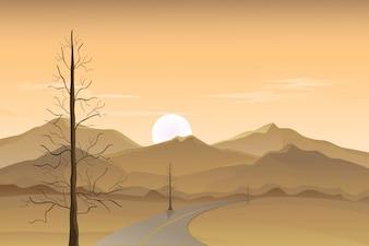 Vue sur le coucher du soleil dans le paysage du désert, Vector Background with Mountains and Desert Roadside