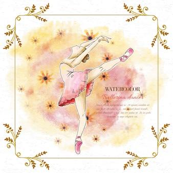 Watercolor ballerina dancer