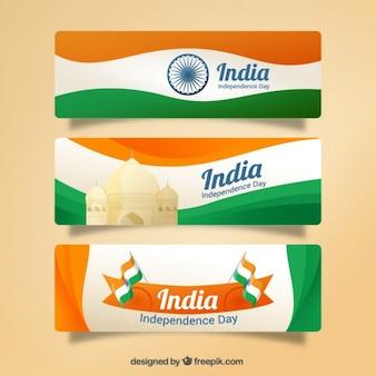 Waves bannières de l'Inde jour de l'indépendance