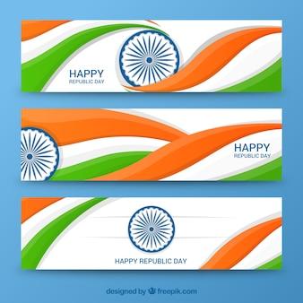 Wavy bannières jour de la République Indienne