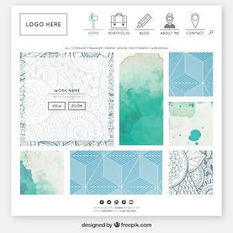 Website template dans la conception de l'aquarelle