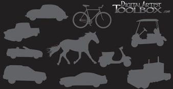 10 siluetas de transporte