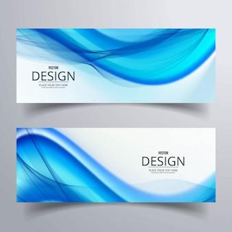 2 banners con formas onduladas azules