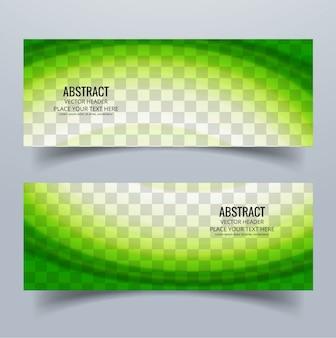 2 banners con formas onduladas verdes