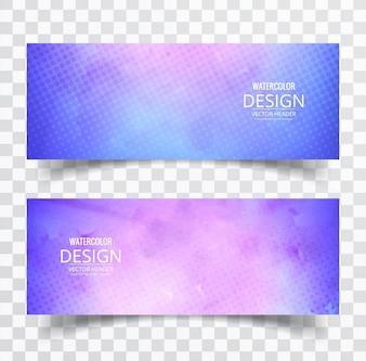 2 coloridos banners de acuarelas