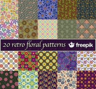 20 motivos florales retro Freepik