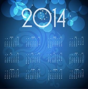 2014 azul calendario vector