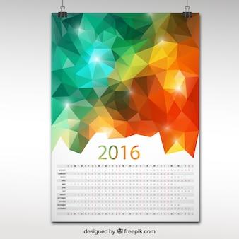 2016 calendario en el diseño poligonal