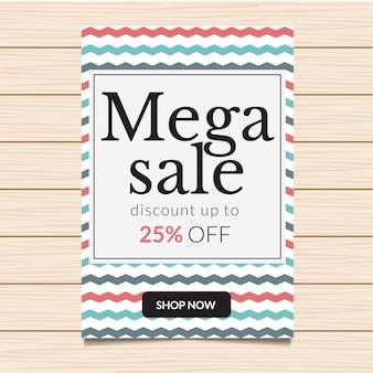 25% de descuento en Mega Sale Banner Illustration