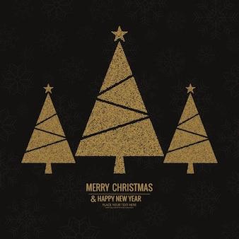 3 árboles de navidad dorados sobre un elegante fondo negro