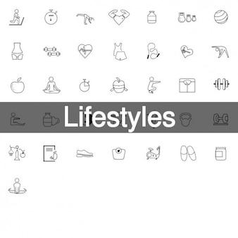 36 estilos de vida saludables iconos