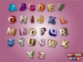 3D Alfabetos coloridos