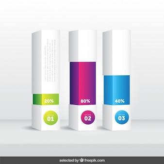 3d bar con porcentaje infografía