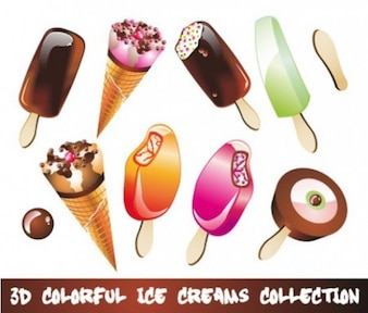 3d colorido ice cream vector