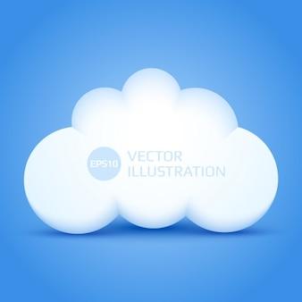 3d nube con fondo azul