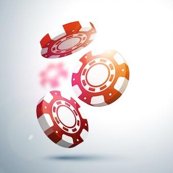 3D rojo y blanco Casino Chips diseño.