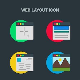 4 iconos de plantilla web sobre fondo negro
