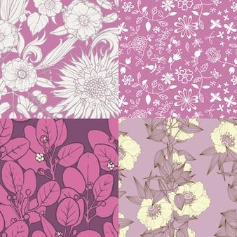 4 patrones de flores en púrpura