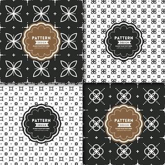 4 patrones florales blanco y negro