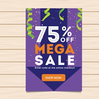 75% de descuento en Mega Sale Banner Illustration