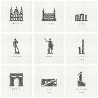 9 monumentos, dibujados a mano