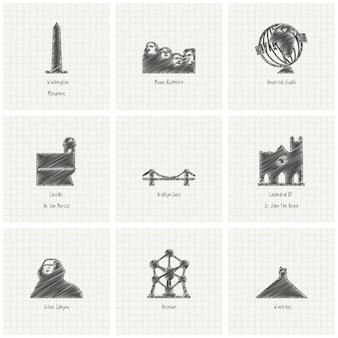 9 monumentos dibujados a mano