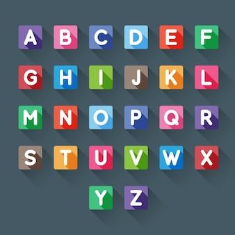 Abecedario de colores en cuadrados