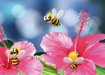 Abejas volando en la ilustración del jardín