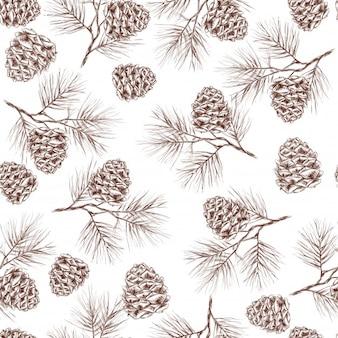 Abeto de pino abeto de cedro de Navidad y conos patrón transparente ilustración vectorial