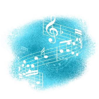 Abstractas notas de música sobre un fondo de pintura de acuarela
