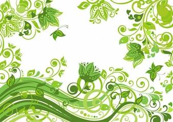 abstracto fondo verde floral ilustración vectorial