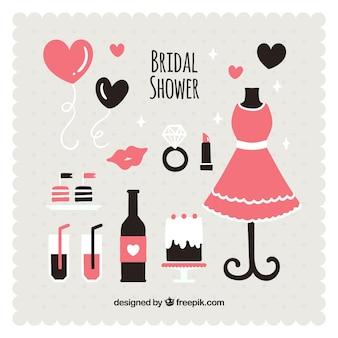Accesorios de boda negros y rosas en diseño plano