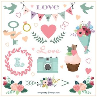 Accesorios de boda y ornamentos dibujados a mano