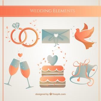 Accesorios de la boda en tonos anaranjados