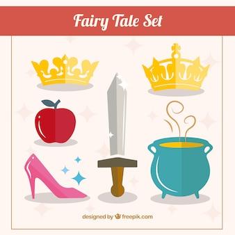 accesorios de la princesa del cuento establecen