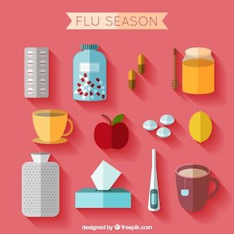 Accesorios de la temporada de gripe en diseño plano