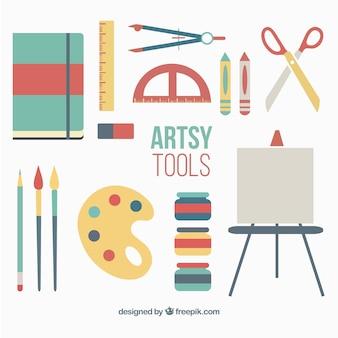accesorios de pintura en diseño plano