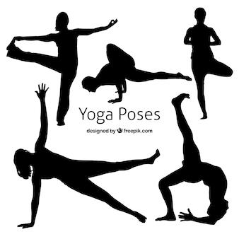 Actitud de la yoga Siluetas