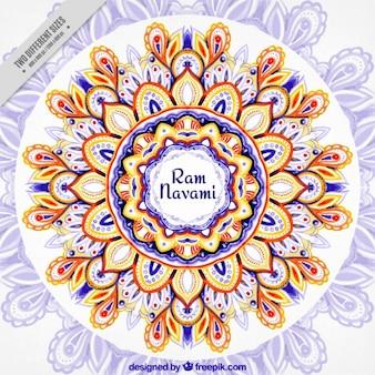 Acuarela fondo y flores Ram Navami