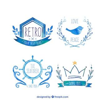 Acuarela logos azules en estilo retro