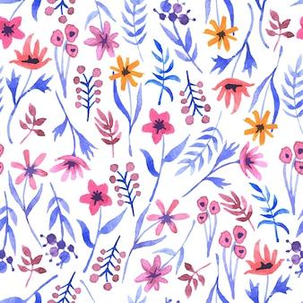 Acuarela patrón transparente con flores