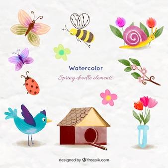 Acuarela preciosos animales y cosas de primavera