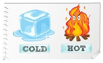 Adjetivos opuestos con frío y calor
