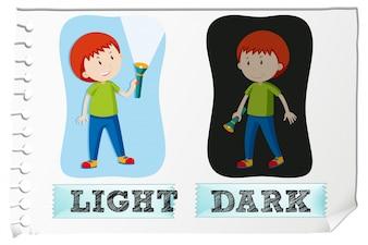 Adjetivos opuestos con luz y oscuridad